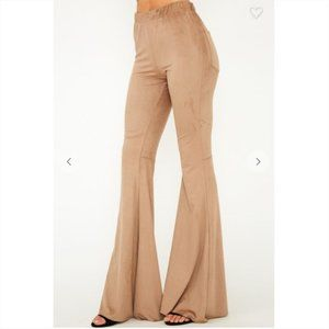 New! Tan Baby Suede Flared Leg Pants